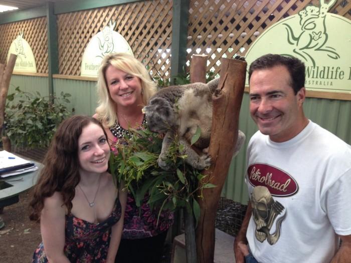 NAPA Funny Car Driver Ron Capps and family in Australia - koala 2013-001