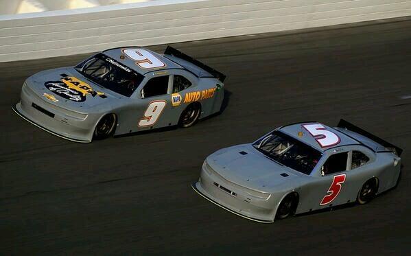 Chase Elliott and Bill Elliott side by side during testing at Daytona 2014.