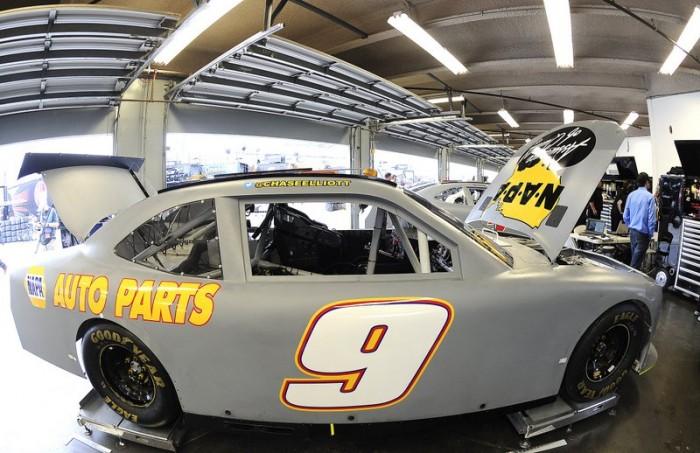 No. 9 NAPA Auto Parts Chevrolet of Chase Elliott in the garage during testing at Daytona 2014.