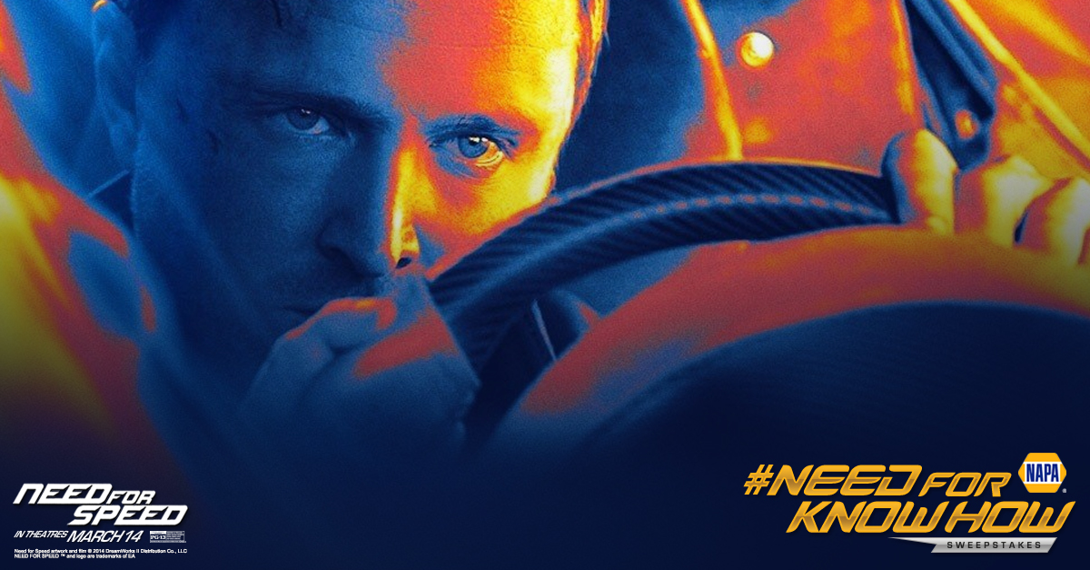 need for speed movie, poster, NAPA, contest, Aaron Paul, Mustang