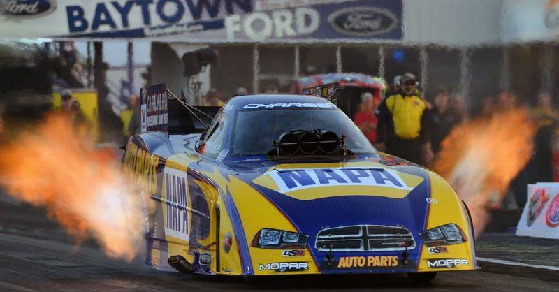 Royal Purple Raceway 2014 NAPA AUTO PARTS Dodge Charger RT Funny Car Ron Capps fire