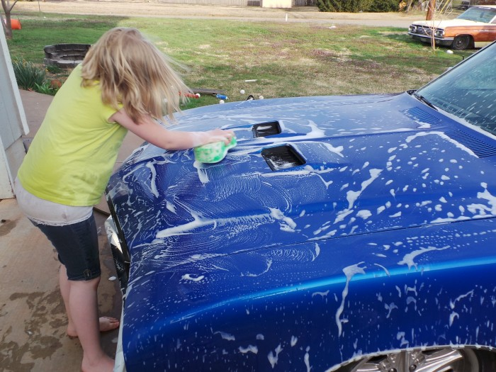 If you have them, employing the children is a great way to bond as a family, and you get to spray them with a hose.