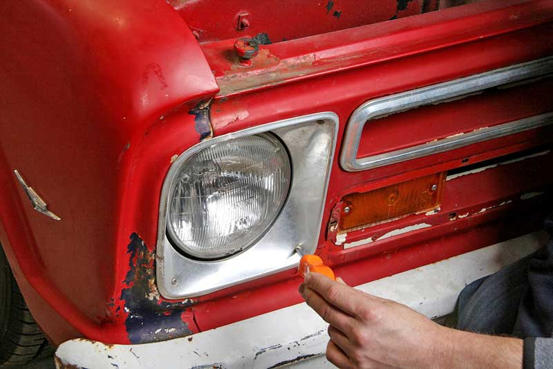 """The 1967 Chevy truck has 7"""" sealed beams, which we are converting to H4-style mounts with Pilot Automotive housings and bulbs."""