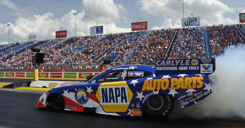 Ron Capps NAPA AUTO PARTS Dodge Charger RT Funny Car Route 66 NHRA Nationals Burnout