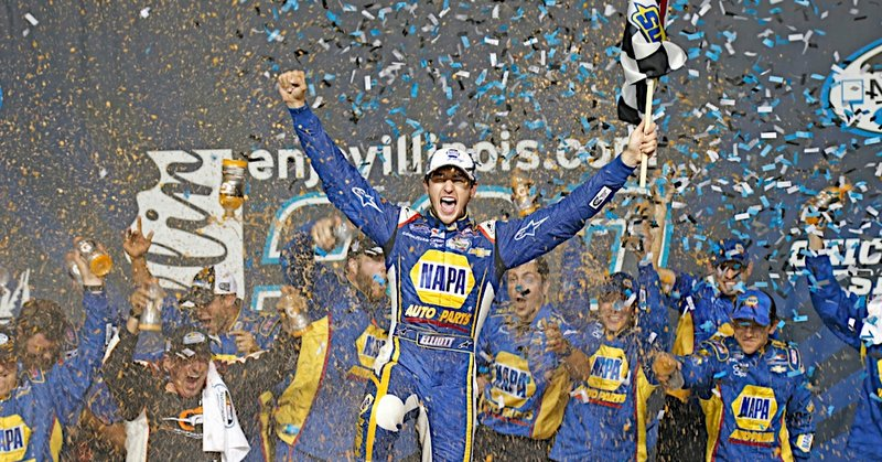 Chase Elliott wins the NASCAR enjoyillinois.com 300 Nationwide Series race at Chicagoland Speedway in Joliet, IL.