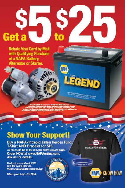 NAPA AUTO PARTS Intrepid Fallen Heroes Fund T-shirt rebate