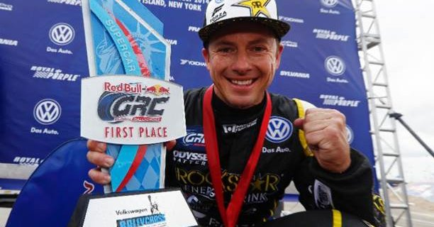 Tanner Foust Global Rallycross NY VW NAPA Chassis trophy crop