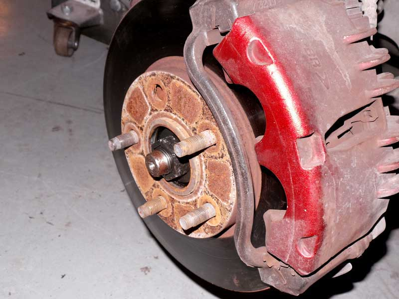 This Mustang has a broken wheel stud. While 4 lugs will secure the wheel, it really needs to be replaced.