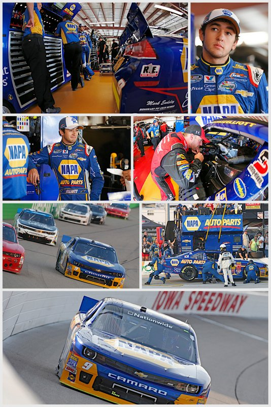 NASCAR Nationwide Series points leader Chase Elliott Iowa Speedway 2014 NAPA AUTO PARTS Chevrolet collage