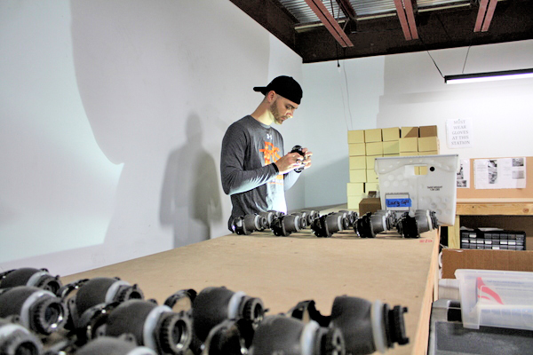 A technician tests each light and measures its output to meet The Retrofit Source's strict quality standards.