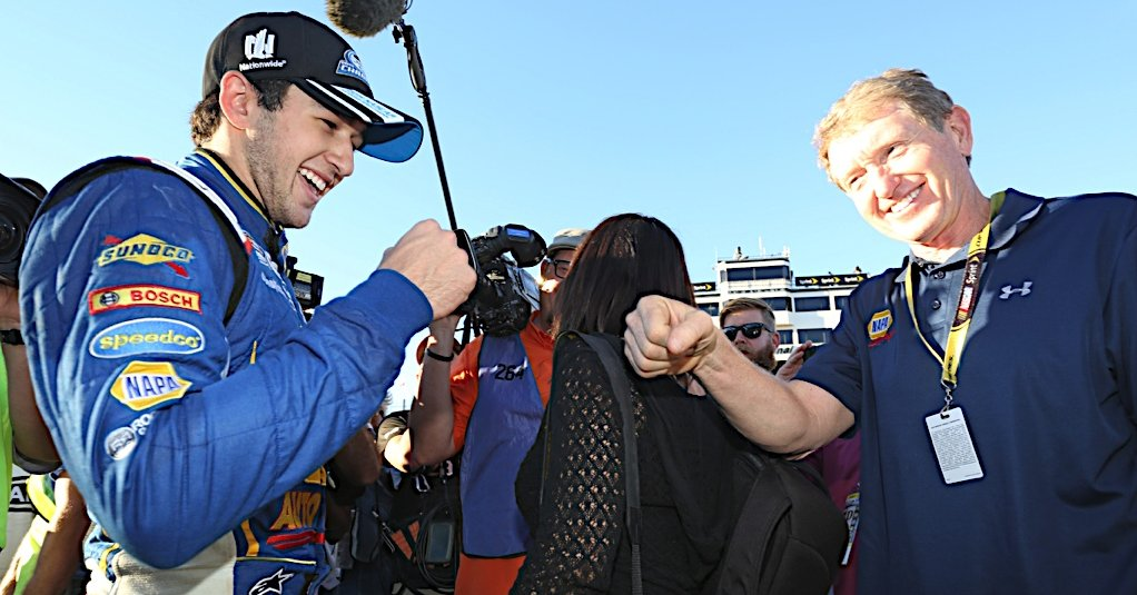NAPA Chase Elliott 2014 NNS Champion with Bill Elliott NASCAR