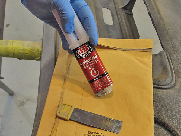JB Weld Quick Weld works great on metal, fiberglass and plastic. It is metered out in the proper ratios with the plunger.