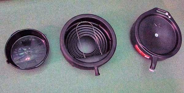 A good drain pan will make the job much easier. From left to right- Open type, semi-open with drain, fully closed with drain.