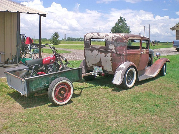 This Model A looks cool hauling this motorcycle and it is capable of doing so. You would not be able to haul a car with this hot rod though. Match your tow vehicle to the load.