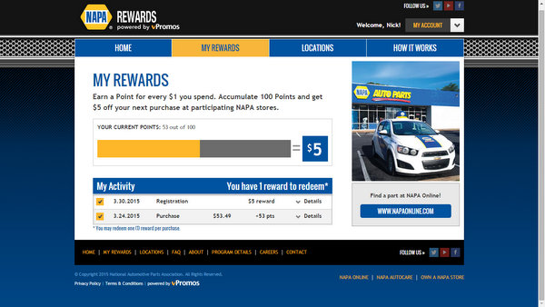 NAPA Rewards account profile - nationwide launch - Know How blog