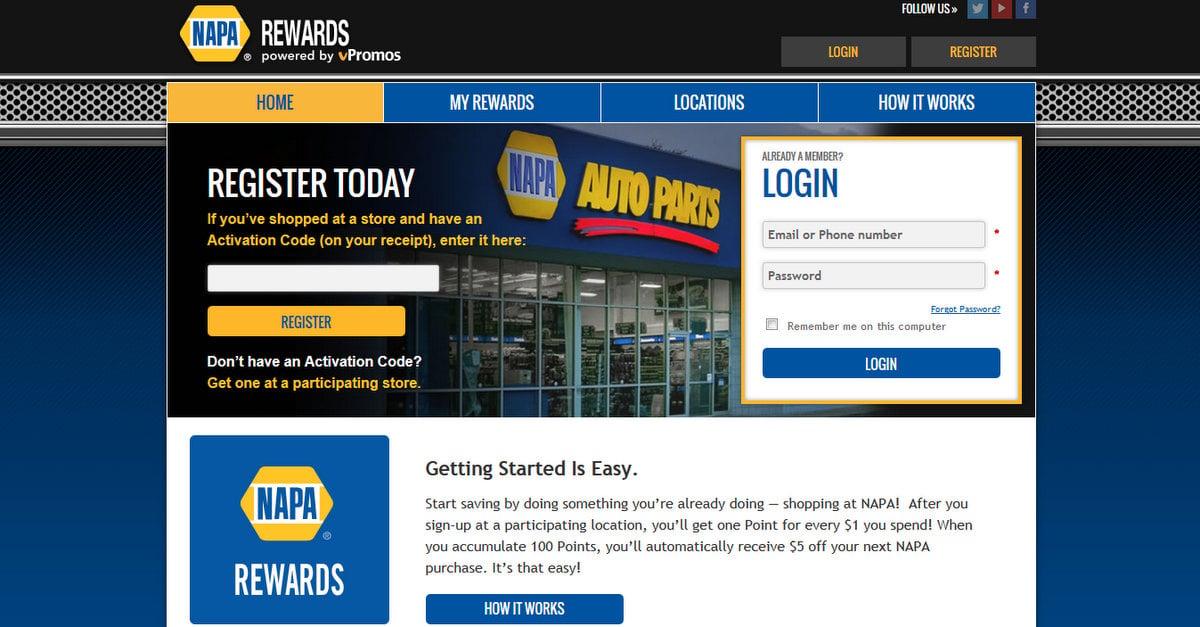 NAPA Rewards register