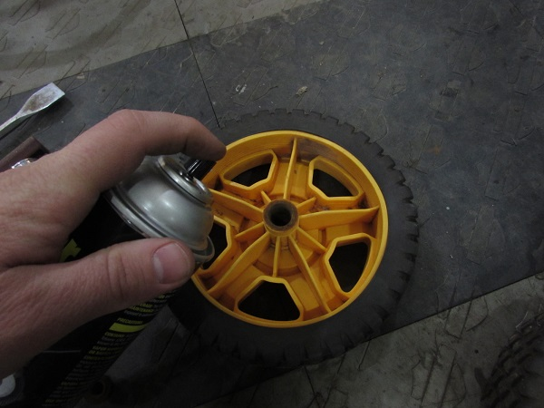 We also treated each wheel hub as well. Now this mower is supercharged.