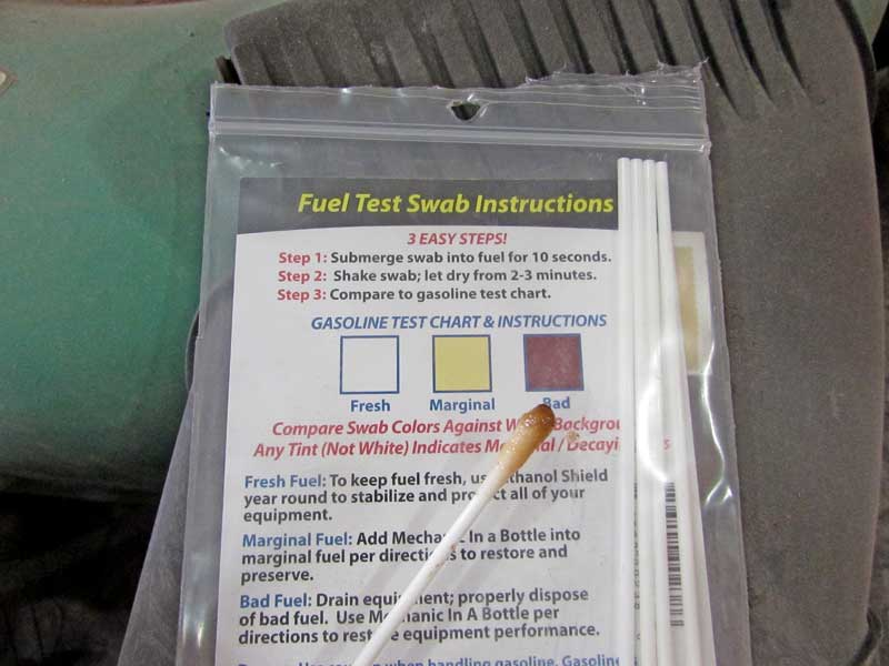 The swab is then checked against the guide to determine if the gas is good or not. This gas is as bad as it gets.