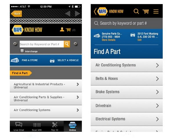 NAPA mobile app update - find a part