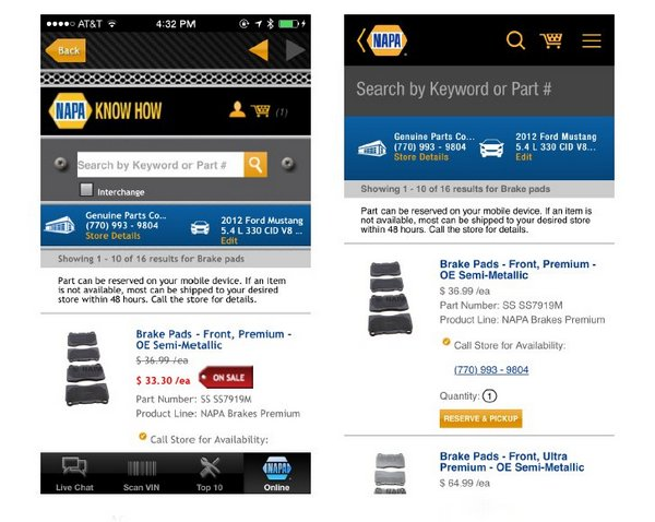 NAPA mobile app update - part search results