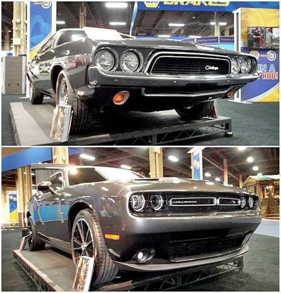 NAPA EXPO cars Dodge Challenger old new side by side