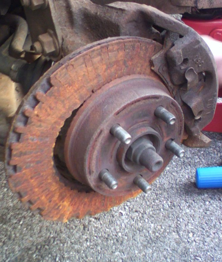 A completely destroyed brake rotor.