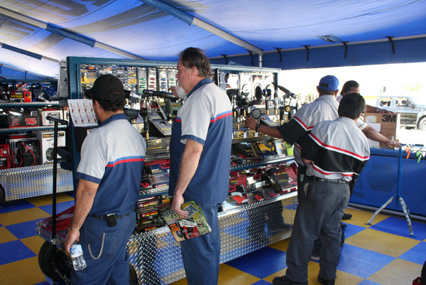 NAPA Tools and Equipment Rock & Roll Sales truck driver position tent
