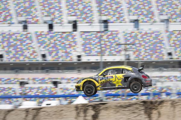 Tanner Foust Global Rallycross Daytona win 2015 NAPA Chassis flying