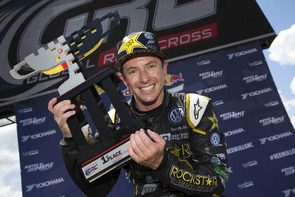 Tanner Foust Global Rallycross Daytona win 2015 NAPA Chassis trophy
