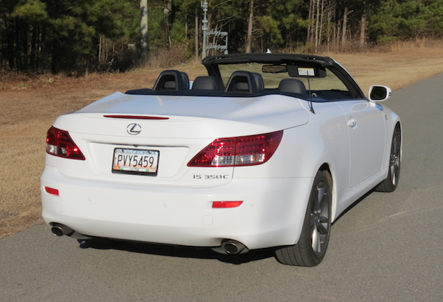 The roof on this Lexus convertible is housed in the trunk when the top is down.