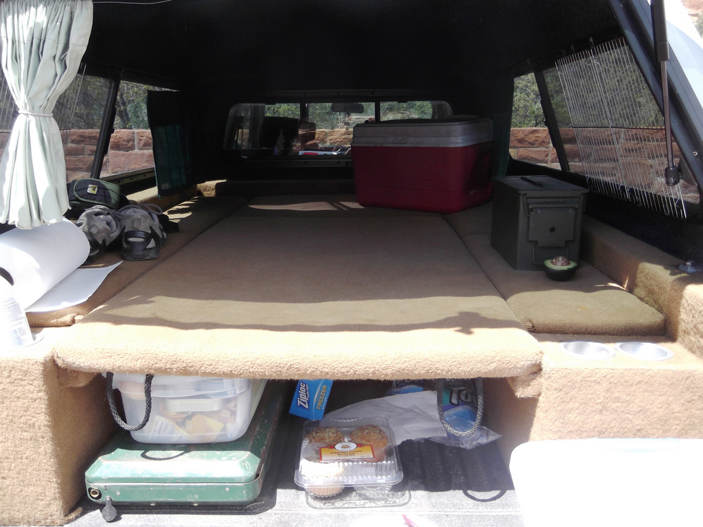 This DIY sleeping platform can be resized to turn your car into a tent.