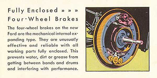 This is a clip from the 1930 Ford Model A brochure explaining the wonders of their braking system.