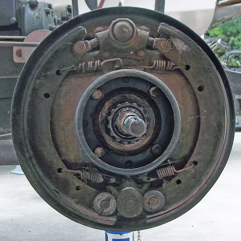 This is the actual front drum brake assembly from our project 1930 Model A Ford. A little worse for wear but they were still functional.