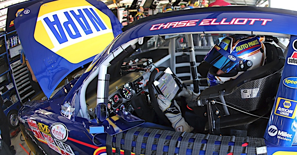 Chase Elliott during practice for the Help a Hero 200 at the Darlington Raceway in Darlington, SC
