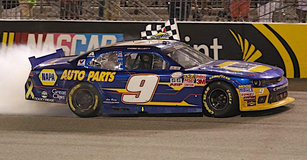 Chase Elliott celebrates winning the Virginia529 College Savings 250 at the Richmond International Raceway.