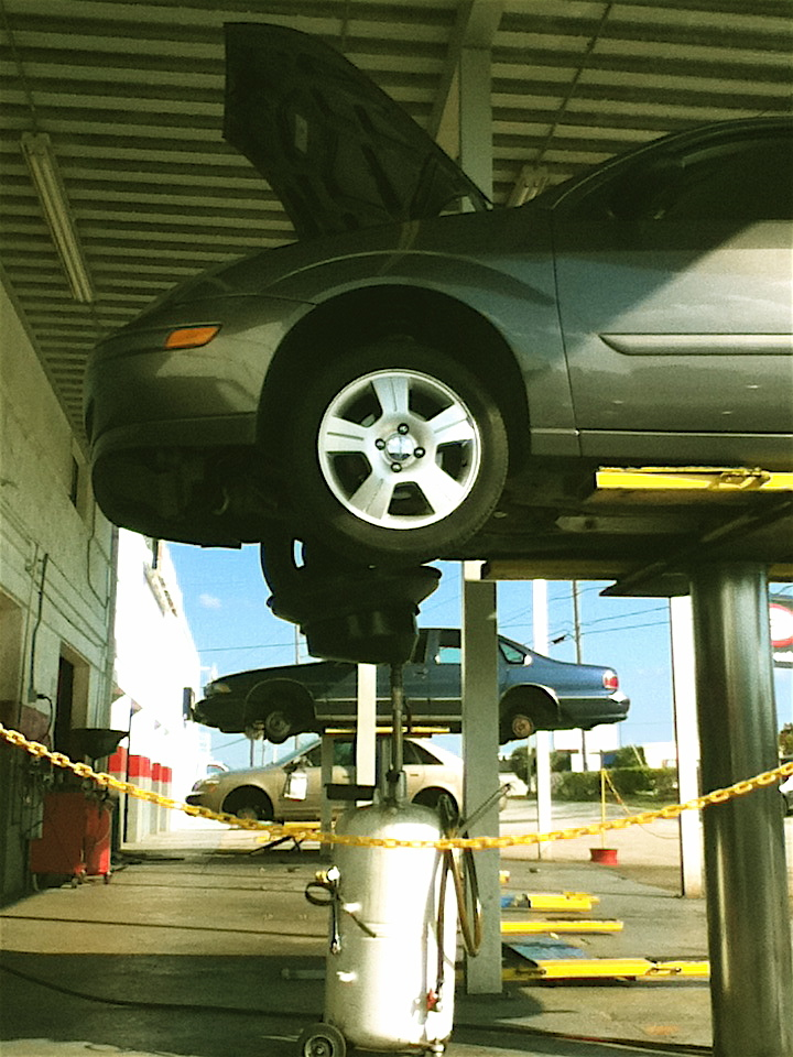 Car on repair lift