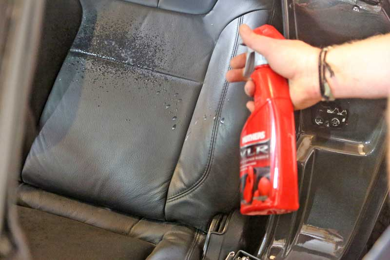 You can spray it directly onto the leather or spray it on a clean microfiber towel to apply VLR.
