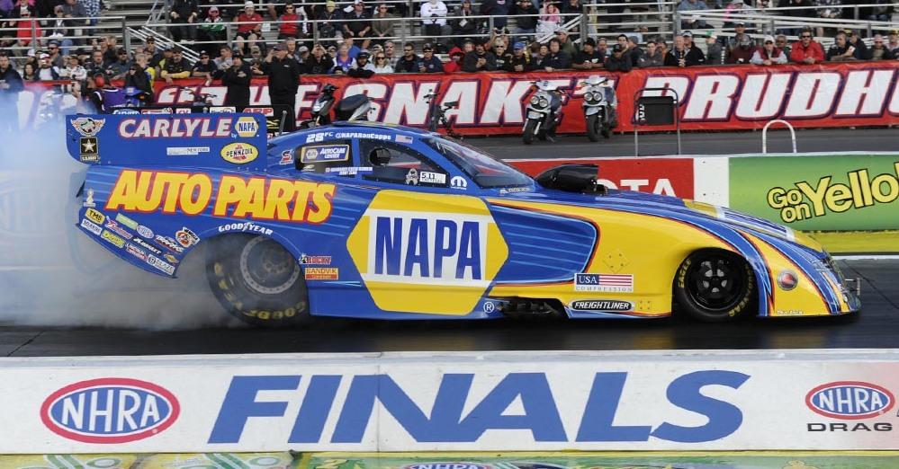 NHRA-Funny-Car-Finals-2015-Pomona-NAPA-AUTO-PARTS-Ron-Capps-Burnout