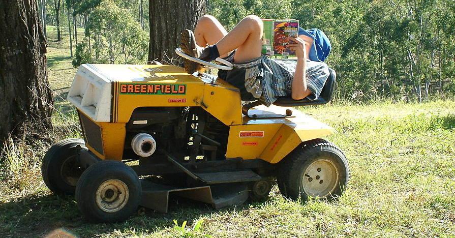 Relaxing on mower