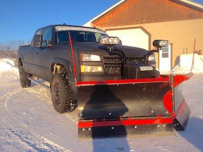 V-plow on truck