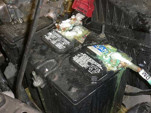 A corrosive battery can render your vehicle inoperable.