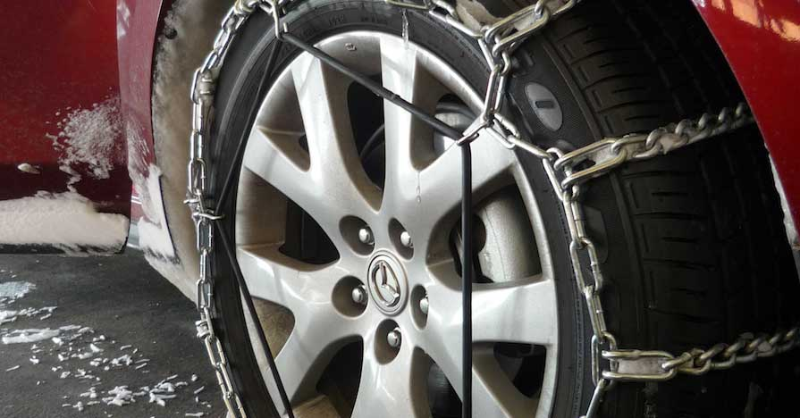winter driving tips like chains on Radial Tires