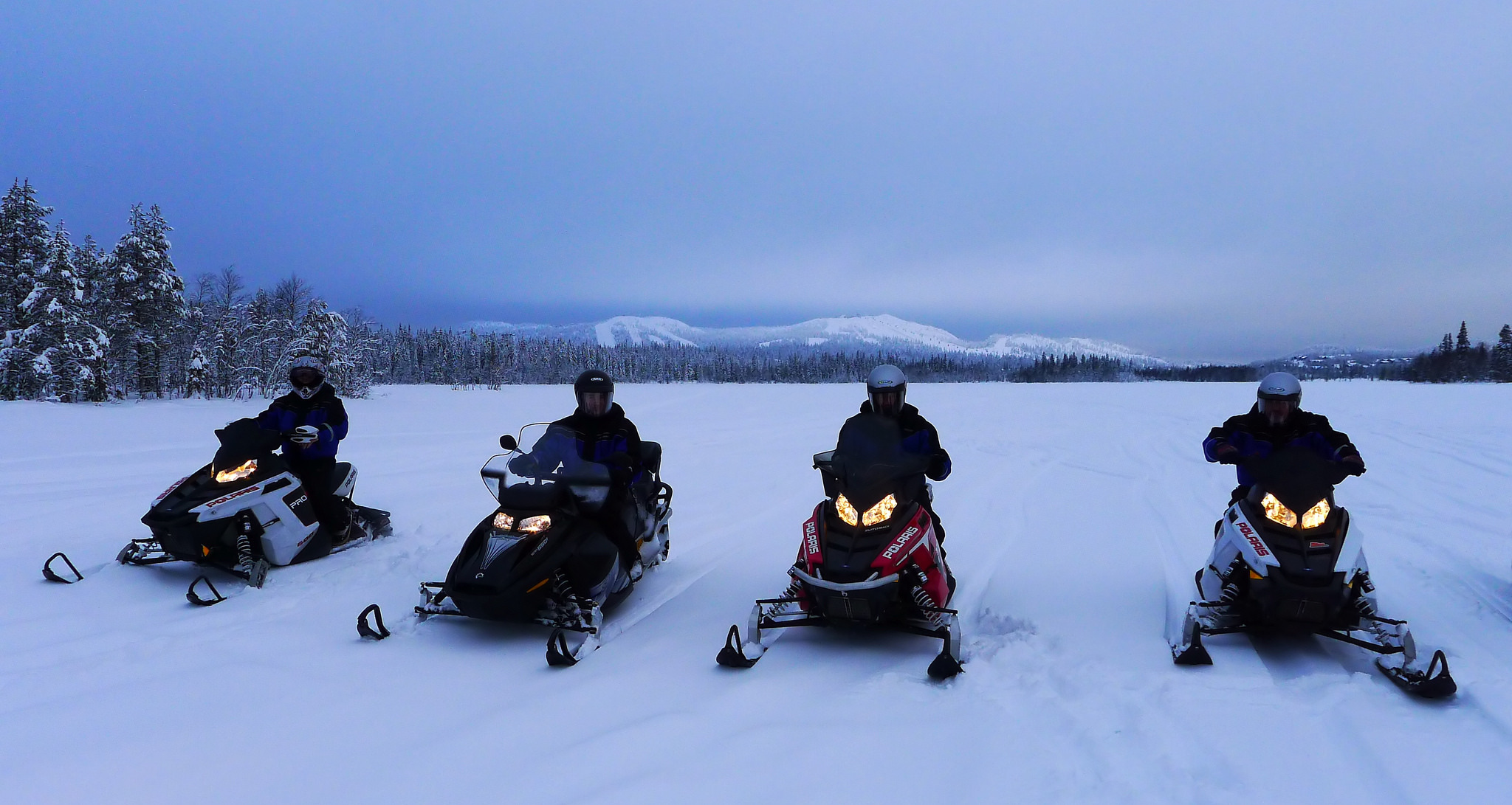 Snowmobiling in the mountains