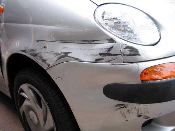 Scratched bumper
