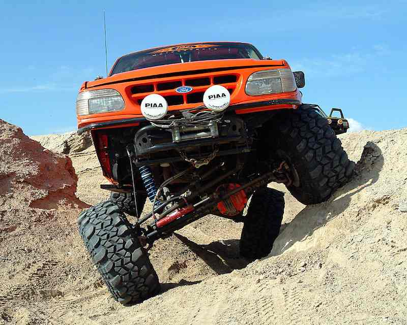 Lifted truck off-road trail