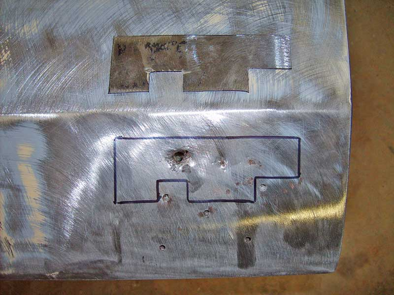 A patch panel was made from 14-gauge steel and coated with weld-thru primer to keep it from rusting.
