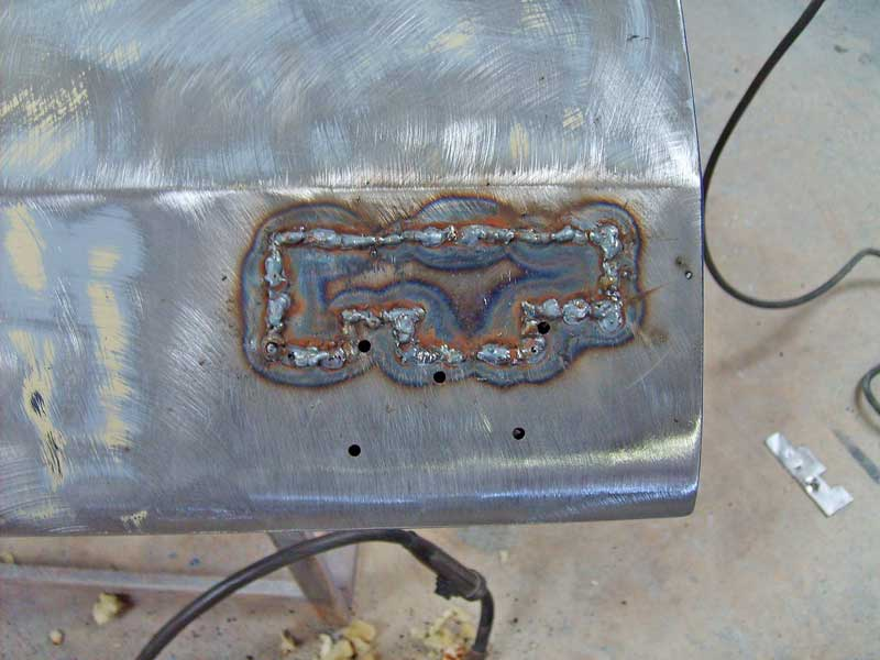 Using the stitch-weld method, the panel was welded into place.