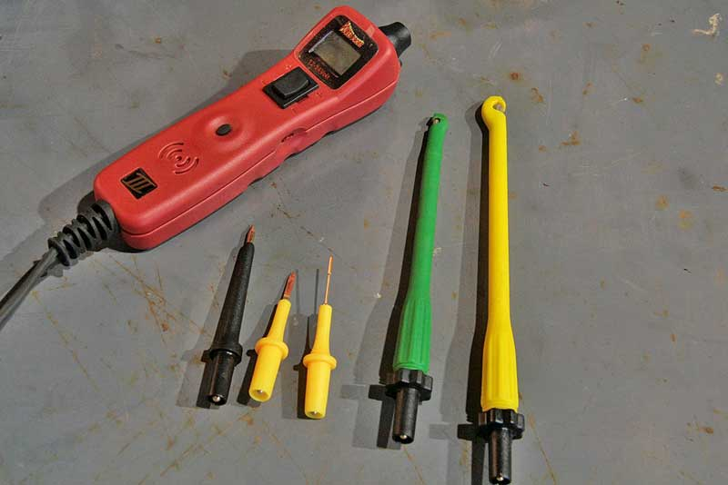 The Power Probe basic kit comes with the power unit, three probes and two piercing probes. The piercing probes open and close by threading the base in and out of the probe unit which grabs the wire and pierces the wire with a needle probe. It saves your fingers and leaves a much smaller hole in the wire covering.