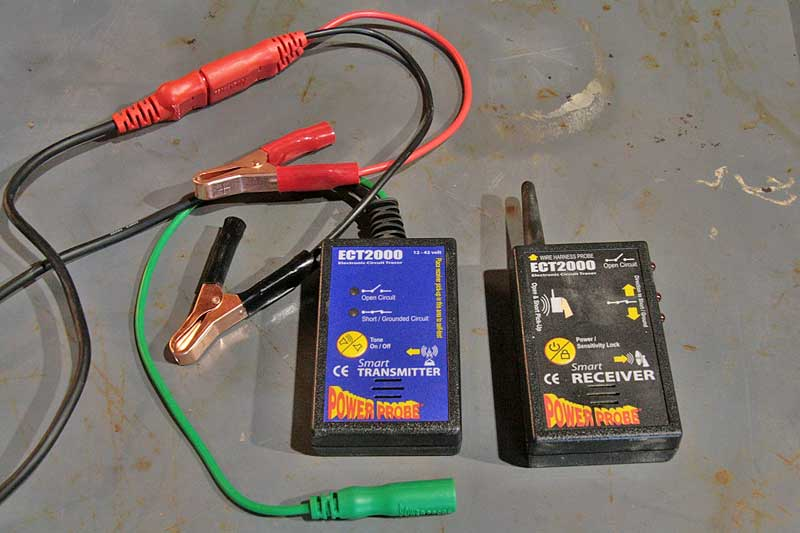 The ECT2000 unit connects to the battery just like the Power Probe. The green wire attaches to the one of the probe ends to inject the signal.