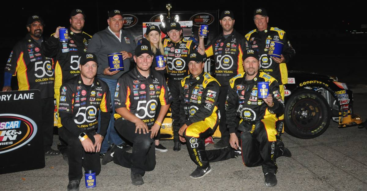 Eggleston NASCAR K&N West Orange Show win BMR NAPA Filters team victory lane